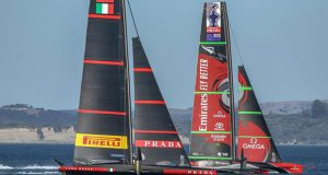 Luna Rossa have a brief line up against Emirates Team New Zealand - Waitemata Harbour - January 6, 2020 - 36th America's Cup - photo © Richard Gladwell / Sail-World.com