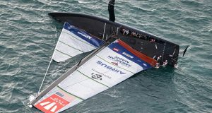 A huge capsize for American Magic on day 3 of the PRADA Cup © COR36 / Studio Borlenghi