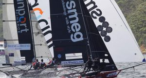 Finport Finance and Smeg lead the fleet on the first spinnaker run during Race 8 of the 18ft Skiff Australian Championship ©Frank Quealey