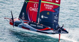 Emirates Team New Zealand sailing in the AC36 Cup Match - Race Day 5 © Carlo Borlenghi