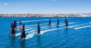First reaching leg action from the GC32 World Championship in Lagos in 2019 - photo © Jesus Renedo / Sailing Energy / GC32 Racing Tour