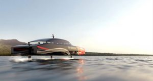 A hydrogen powered AC75 chase boat speeds down the Rangitoto Channel - photo © Emirates Team NZ