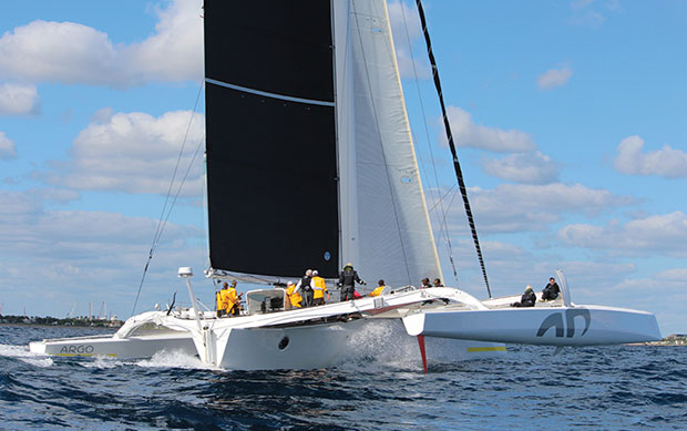 Jason Carroll's MOD 7O trimaran Argo claimed line honors in the 62nd Wirth M. Munroe Ocean Race, completing the 60-mile course from Miami to Palm Beach in just over 3 hours, averaging nearly 20 knots and smashing the overall elapsed time record. © Gus Carlson