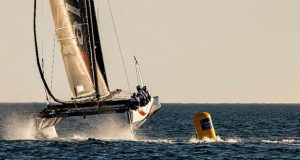 Another immaculate manoeuvre from Ernesto Bertarelli's Alinghi team - GC32 Lagos Cup 1 - photo © Sailing Energy / GC32 Racing Tour