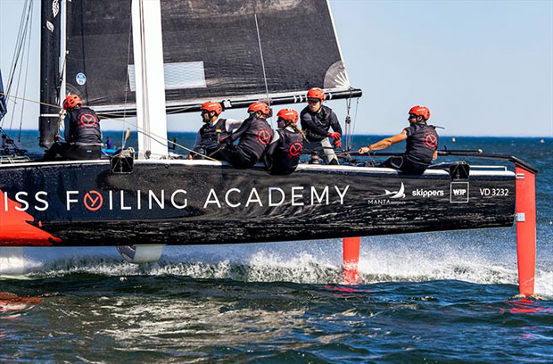 Swiss Foiling Academy in full flight on day 2 of 2021 GC32 Lagos Cup 1 ©Sailing Energy/ GC32 Racing Tour
