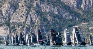 76 boats makes for a big start line. Malcesine Pre-Worlds 2021 © Angela Trawoeger