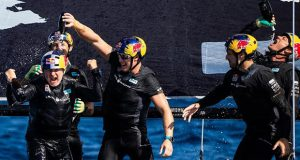 Celebrations on board Red Bull Sailing Team, as Hagara and Steinacher claim their first World Champion in 22 years - GC32 World Championship - photo © GC32 Racing Tour / Sailing Energy