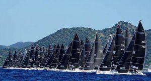 Melges 24 fleet at the final event of the 2019 Melges 24 European Sailing Series - 2019 Melges 24 World Championship in Villasimius, Sardinia, Italy. © Pierrick Contin / IM24CA