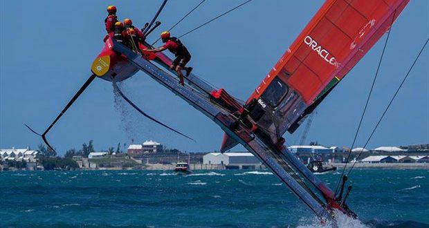 Spain SailGP Team co-helmed by Florian Trittel and Phil Robertson in Friday action during Bermuda SailGP, Event 1 Season 2 in Hamilton, Bermuda - photo © Bob Martin / SailGP